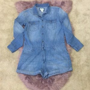 F21 Denim long sleeve Romper